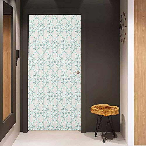 Onefzc Pantry Sticker for Door Ivory and Blue Monochrome Stars and Lattice Design Inspired Pattern Floral Shapes Sticker Removable Door Decal W30 x H80 Pale Blue and Ivory