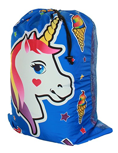 Gilbin Matching Mesh Laundry Or Sock Bag with Drawstring for Sleep Away Camp (Laundry Bag, Unicorn Ice Cream)