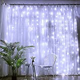 DLIUZ UL Safe 304 LED 9.8FT Linkable Curtain Icicle Fairy String Lights, with with 8 Modes for Christmas Wedding Party Family Patio Lawn Decoration, White