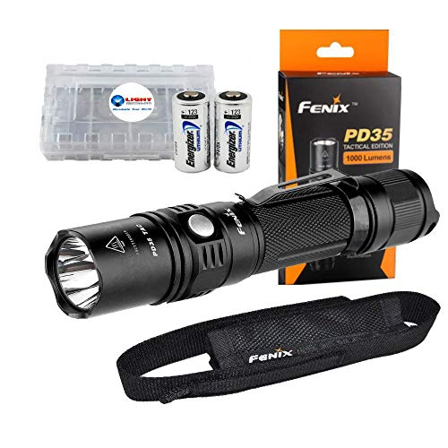 - Fenix PD35 TAC Tactical Flashlight 1000 Lumen Light Bundle with 2 Energizer CR123 Batteries and Lightjunction Battery Case