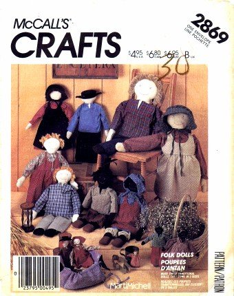 McCall's 2869 Crafts Sewing Pattern Folk Dolls Clothing