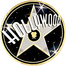 """Custom & Unique {10.5"""" Inch} 8 Count Multi-Pack Set of Large Size Round Circle Disposable Paper Plates w/ Classic Hollywood Sign Walk of Fame Star Party """"Gold, Black & White Colored"""""""
