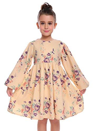 Arshiner Little Girls Long Sleeve Dress Floral Princess Vintage Dress