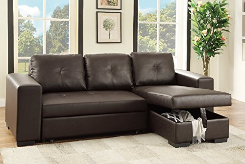 Poundex Bobkona Nathan Faux Leather SECTIONAL with Pull-Out Bed & Compartment in (Espresso Leather Sectional Sofa)