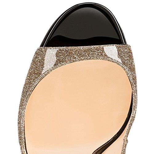 EDEFS - Zapatos con tacón Mujer Glitzern-Gold