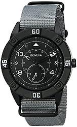 Geneva Men's 1672A-GEN Black Stainless Steel Watch with Grey Nylon Band