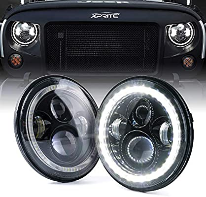 "Xprite 7"" Inch Round Halo Headlights 90W 9600 Lumens Hi/Lo Beam LED Headlight with DRL and Turn Signal Lights Function for Jeep Wrangler JK"