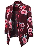 Awesome21 Floral Lightweight Open Front Shirring Sleeve Blazer Red Size M