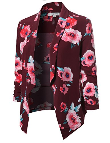 Awesome21 Floral Lightweight Open Front Shirring Sleeve Blazer Red Size M by Awesome21