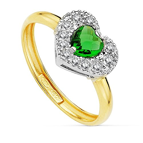 Bague 18k bicolor coeur or pierre verte centre de 5 mm. [AB2422]