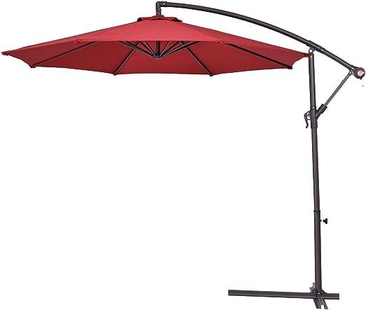mascarello® 2, 7 m al aire libre sombrilla parasol para colgar paraguas jardín, granate: Amazon.es: Jardín