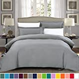 Extra Large King Size Duvet Cover SUSYBAO 100% Cotton 3 Pieces Duvet Cover Set King Size 1 Duvet Cover 2 Pillow Shams Stone Grey Hotel Quality Ultra Soft Breathable Durable Fade Stain Wrinkle Resistant with Zipper Ties