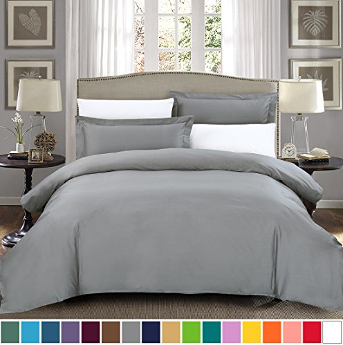 SUSYBAO 100% Natural Cotton 2 Pieces Duvet Cover Set Twin/Single Size 1 Duvet Cover 1 Pillow Sham Stone Grey Hotel Quality Soft Breathable Comfortable Fade Stain Wrinkle Resistant with Zipper (Duvet Sham)