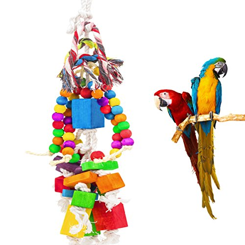 MEWTOGO Large Parrot Toy - Multicolored Wooden Blocks and Rope Tearing Toys Suggested for African Grey Cockatoos, and a Variety of Amazon Parrots. by MEWTOGO