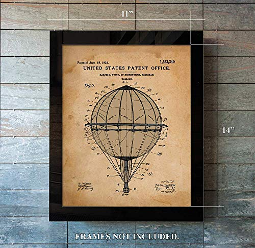 Hot Air Balloon - Patent Prints - from 1925 - Unique - Art Wall Decor - Great Gift for Balloon ()