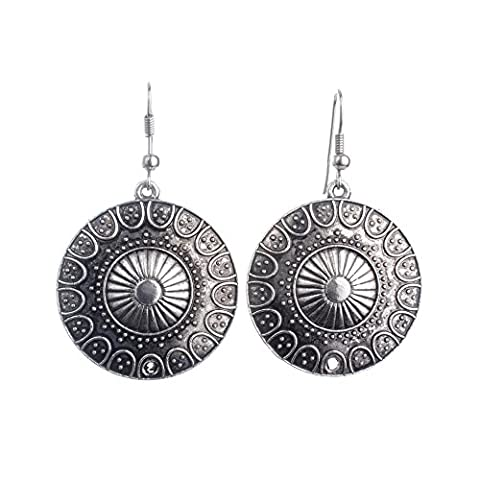 Lureme Ethnic Style Jewelry Antique Silver Round Shaped Pendant Hook Earrings for Women and Girls (Boho Rings Silver)
