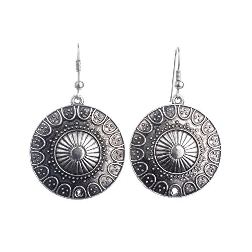 Lureme Ethnic Style Jewelry Antique Silver Round Shaped Pendant Hook Earrings for Women and Girls (02004293) Antique Style Silver Earrings