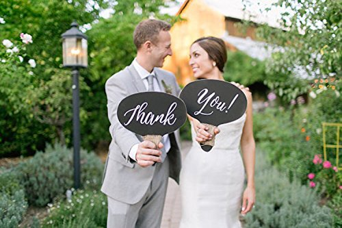 thank you wedding signs, chalkboard and burlap thank you paddles