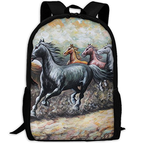 Markui Adult Travel Hiking Laptop Backpack Horse Painting Aartwork School Multipurpose Durable Daypacks Zipper Bags Fashion