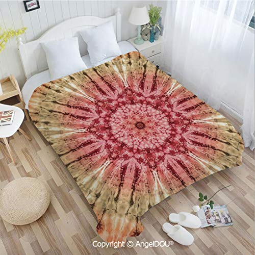 - AngelDOU Warm air Conditioner Flannel Blanket W31 xL47 Gradient Circle Batik Pattern with Spectral Pleats and Distressed Spots Image for Bed Cover Sofa car use.