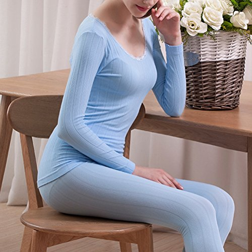 Zhhlaixing Mujeres Lace Cotton Body-shaped Round Neck Thermal Underwear Set Shirt &Pants Hot Light Green