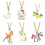 Tanhu 6PCS Deer Cat Zebra Dolphin Gold Unicorn Horse Pendant Necklaces for Kids Boys Girls (6pcs - Deer Dolphin Zebra)
