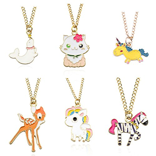 - Tanhu 6PCS Deer Cat Zebra Dolphin Gold Unicorn Horse Pendant Necklaces for Kids Boys Girls (6pcs - Deer Dolphin Zebra)