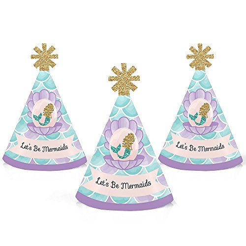 Big Dot of Happiness Let's Be Mermaids - Mermaid Mini Cone Baby Shower or Birthday Party Hats - Small Little Party Hats - Set of 10 by Big Dot of Happiness