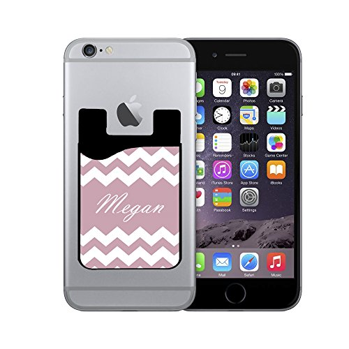 Silicone Card Caddy Credit Card Phone Wallet For Most Smartphones By Infoposusa Personalized Chevron Light Pink