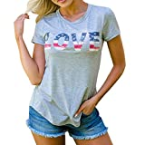Dmitongz 4th of July Independence Day Tops 3D Printed American Flag Love Letter Blouse Short Sleeve Loose T-Shirt