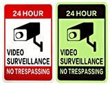 WISLIFE Video Surveillance Sign - ONE Piece, 40 Mil Rust-free Aluminum Sign, Home Business 24 Hours Security, No Trespassing Security Sign 10' X 14' (ONLY 1, Day & Night as Picture)