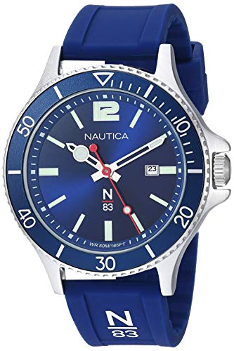 Nautica N83 Men's NAPABS907 Accra Beach Blue/Silver Silicone Strap Watch