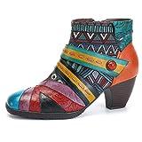 Socofy Block Heel Ankle Booties,Women's Bohemian Color Splicing Pattern Side Zipper Ankle Leather Boots Blue 7 B(M) US