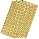 4 Piece Yellow Napkins (19''), Contemporary Style, Cotton Material, Geometric Pattern, Decorative Table Top, Simple Elegance, Suitable For Everyday, Design Cloth Napkins, Light Coral Yellow