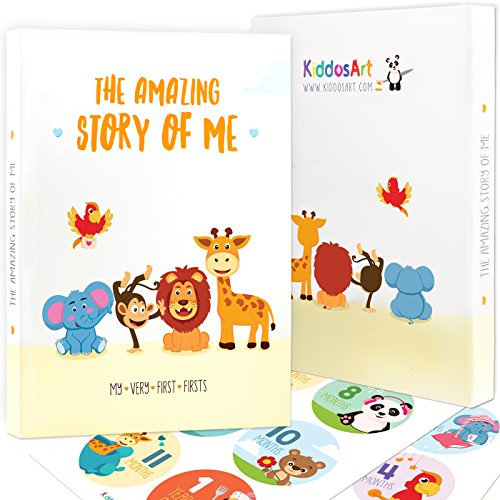 Limited Promo: The Amazing Baby Memory Book by KiddosArt. Keepsake Journal | Scrapbook | Photo Album, Record Memories and Milestones of The First 5 Years On 72 Beautiful Pages. Baby Shower Gift Set by KiddosArt
