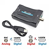 BNC to HDMI Video Converter - Female BNC HDMI Connector Audio Composite Adapter Component Box for HD TV Monitor Security Camera CCTV DVRs w/ 720 1080P Output HDCP Deep Color