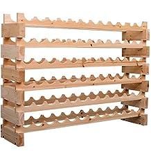 HOMCOM Wood Wine Rack 72 Bottles Holder 6 Tier Shelves Storage Stand