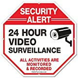 """Security Sign,Faittoo 24 Hour Video Surveillance Sign,Octagon 12""""x12"""" 40Mil Thick Aluminum Reflective Sign for Home Business CCTV Security Camera, UV Protected & Waterproof"""