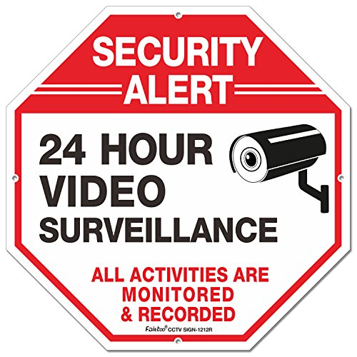 Outdoor Video Surveillance Sign -12 X 12 Octagon Rust Free 0.40 Aluminum Reflective Sign for Home Business CCTV Security Camera, UV Protected & Waterproof