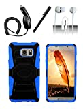 4 Items Combo For Samsung Galaxy Note 5 N920A Blue / Black Heavy Duty Hybrid Armor Style Combat Armor Dual Layer Protective Case Cover with Built in Kickstand and Belt Clip Holster + Car Charger + Free Stylus Pen + Free 3.5mm Stereo Earphone Headsets