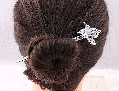 Ethnic classic Flower Hair sticks for Women Vintage Bride Headdress Enamel Hair Wear Hair Chopsticks Hairpin Chignon Pin (Silver(1221))