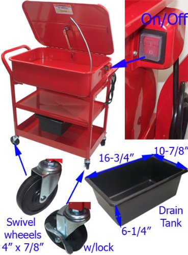 20 Gallon Mobile Parts Washer Cart by Generic (Image #2)