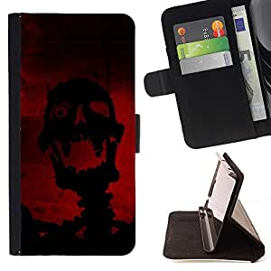 DEVIL CASE - FOR LG OPTIMUS L90 - Evil Laughing Skull Skeleton - Style PU Leather Case Wallet Flip Stand Flap Closure Cover