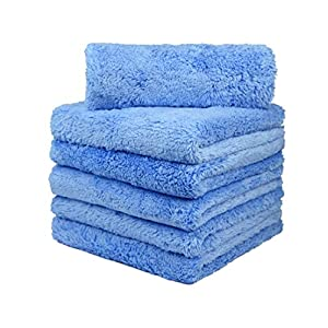 CarCarez Premium Microfiber Towels, Car Drying Wash Detailing Buffing Waxing Polishing Towel with Plush Edgeless Microfiber Cloth, 450 GSM 16x16 inch Pack of 6