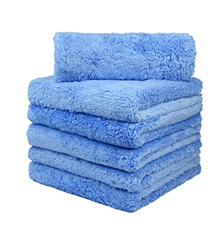 CarCarez Microfiber Car Wash Drying Towels Professional Grade Premium Microfiber Towels for Car Wash Drying Blue 450GSM 16 in.x 16 in. Pack of 6