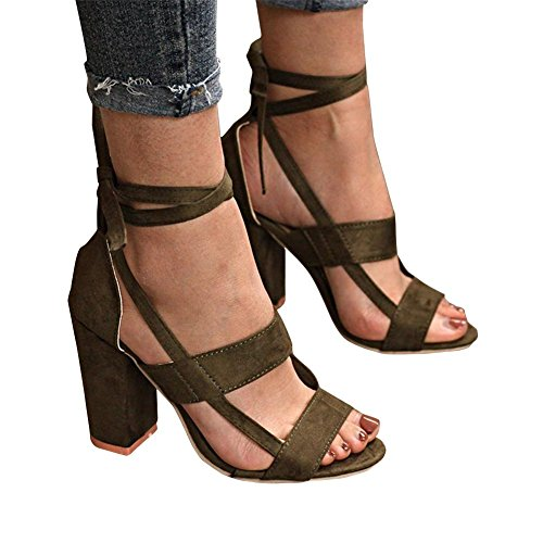 ThusFar Women Chunky Ankle Strappy Sandals Lace up High Heels Party Simple Classic Shoes Army Green