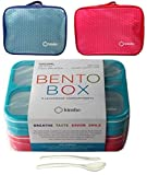 Bento-Box with Insulated Lunch Bag Set. 2 Lunch-Boxes for Kids, Adults. Slim Leak-proof Bentoboxes. BPA Free. Fork & Spoon Utensils. Blue & Pink, Large