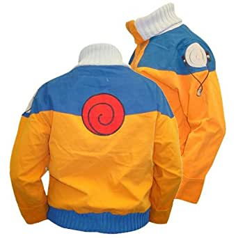 Naruto - Mens Spiral Mp3 Pocket High Neck Jacket Youth Medium Orange