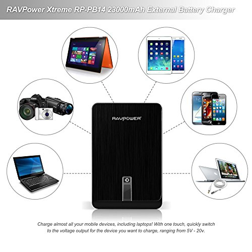 External Battery Pack RAVPower 23000mAh Portable Charger 4.5A DC Output Power Bank Power Pack (3-Port, 9V/12V/16V/19V/20V, LCD Display) for MacBook, iPad, ThinkPad, HP, Dell Laptops, Smartphones