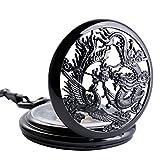 SIBOSUN Antique Phoenix and Dragon Skeleton Pocket Watch Mens Mechanical Black Half Hunter Hand Wind
